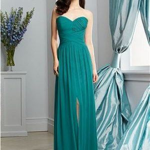 Dessy Strapless Grecian Bridesmaid Chiffon Dress